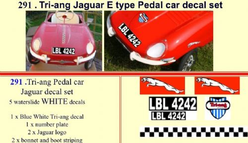 291 Tri-ang Jaguar E type Pedal car decal set